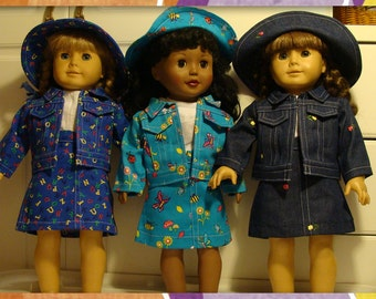 """4pc Western Cowgirl Outfit 18"""" American Girl Doll made from Denmi  - choose color/print Blue"""