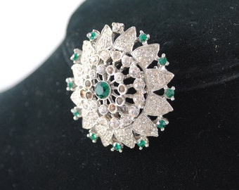 FREE SHIPPING SALE 1950's Green Circular Rhinestone Pendant / Brooch Pin Vintage mad men crystal