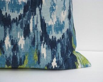 Decorative Throw Pillows Throw Pillow Covers ONE 22x22 Blue Green Pillow Burlap Pillow Ikat Pillow Printed fabric both sides
