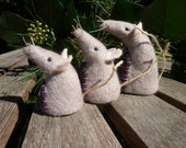 Mouse family of three needle felted soft sculpture - HazelwoodCrafts