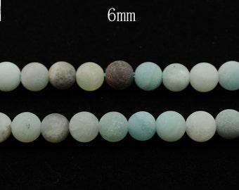 15 inch strand of natural Amazonite matte round beads 6mm