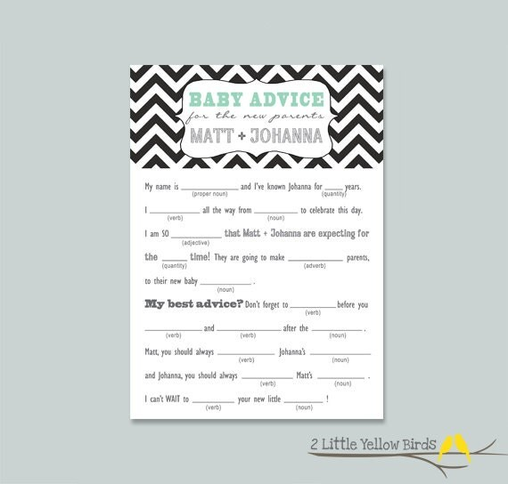 Baby Advice Cards - MAD LIBS (Chevron)