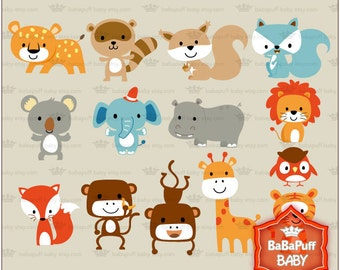 Baby Jungle Animals Clip Art ---- Personal and Small Commercial Use ---- BB 0422
