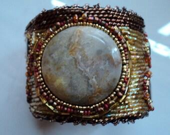SALE Beaded Cuff Bracelet Agate Bracelet Seed Beed Bracelet.