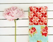 Reversible Cloth Napkins - Large formal dinner napkins - turquoise red pink flower - gifts for mom mothers day valentines day