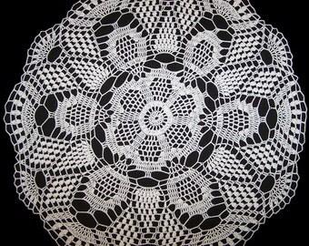 Handmade White Crochet Doily: Grape Vine