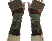 Autumn Toned Upcycled Armwarmers
