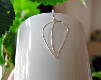 Leaf earrings - silver wire earrings