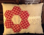 Red Hexigon Flower and Vintage Lace Pillow Tuck