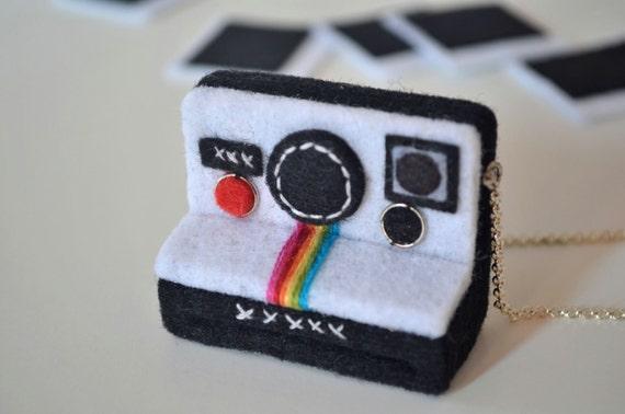 Polaroid Camera Necklace/ Felt Necklace