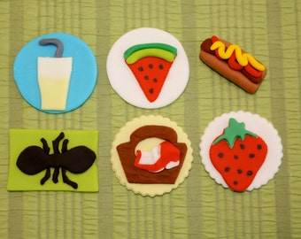 SUMMER PICNIC  -  Fondant Cupcake, and Cookie Toppers - 1 Dozen