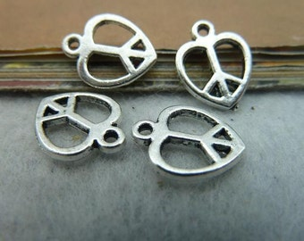 60PCS antique silver 13x14mm peace heart charm pendant- WC2520