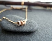RESERVED for N - Tricolor Petit Rondelle Rings Necklace - Solid Yellow, Rose, and White Gold Mini Ring Necklace