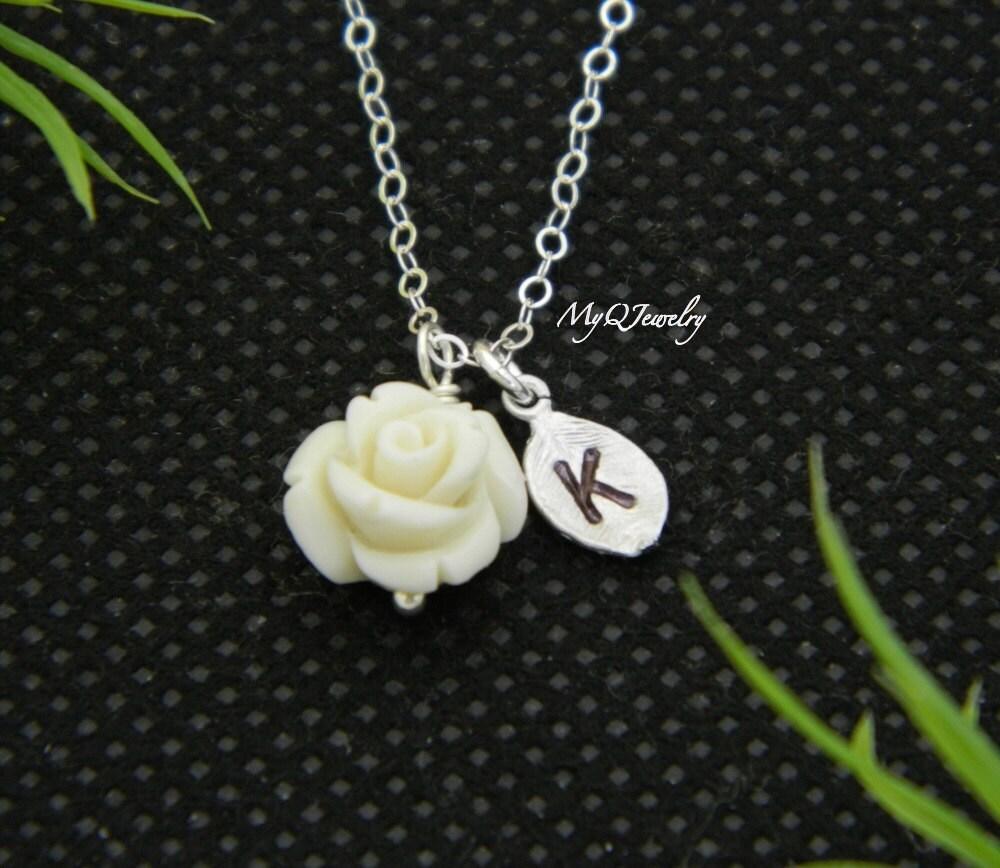 flower necklace children necklace initial necklace