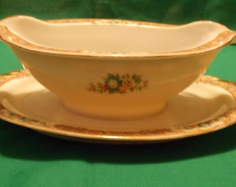 One (1), Gravy Boat, with Attached Under Plate, From ESCO China, in the ESO 29 Pattern.