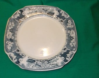 """One (1), 10"""" Dinner Plate, from Societe Ceramique, Maestricht, in the Victoria-Blue Pattern."""