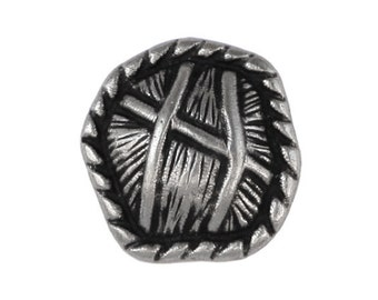 3 Thatch 9/16 inch ( 15 mm ) Metal Buttons Silver Color