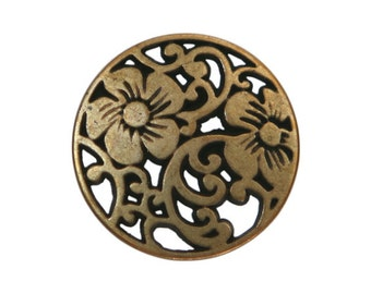 12 Vine Flower 5/8 inch ( 15 mm ) Metal Buttons Brass Color