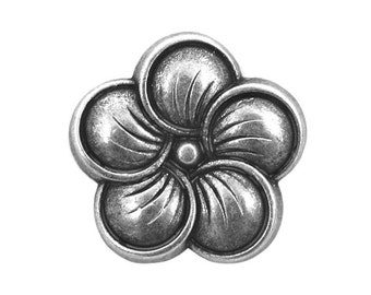 6 Neroli Flower 9/16 inch ( 14 ) Metal Buttons Silver Color