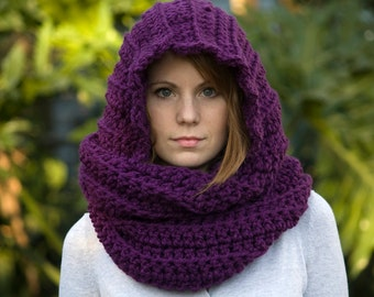 Scarf with Hood, Scoodie, Purple Scarf, Eggplant Crochet Scarf