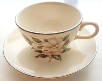 Vintage Magnolia Homer Laughlin Rhythm Set of 4 Teacups and Saucers Shabby Chic Cottage Chic