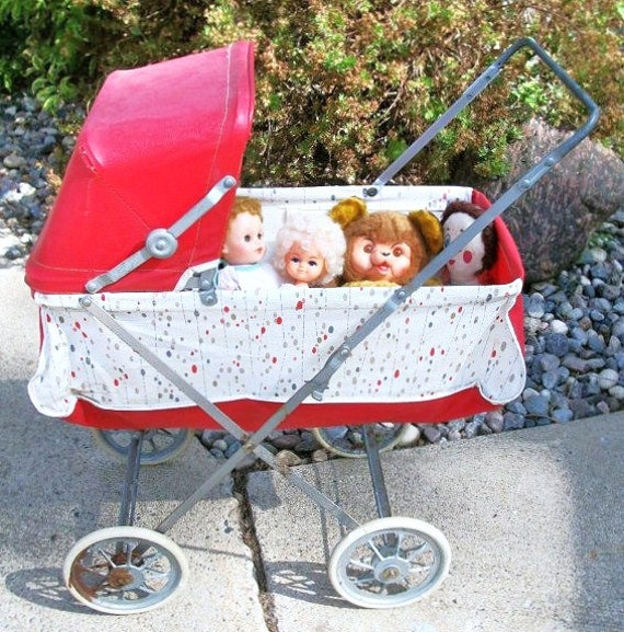 Vintage Easy Fold Carriage by Welsh St Louis MO Red and white with Mid Century Modern Dot Pattern Doll Buggy Doll Carriage