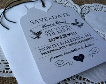 Vintage - Save the Date Tags - Teresa Collection - Eco-Friendly - Recycled Paper - Hemp Twine - Modern - Typography - SAMPLE