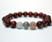 Pave Balls in Silver Gold Pink Crystal Gunmetal Stardust - Stretch Bracelet with Wood Beads