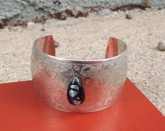Fused Glass Antique Silver Cuff