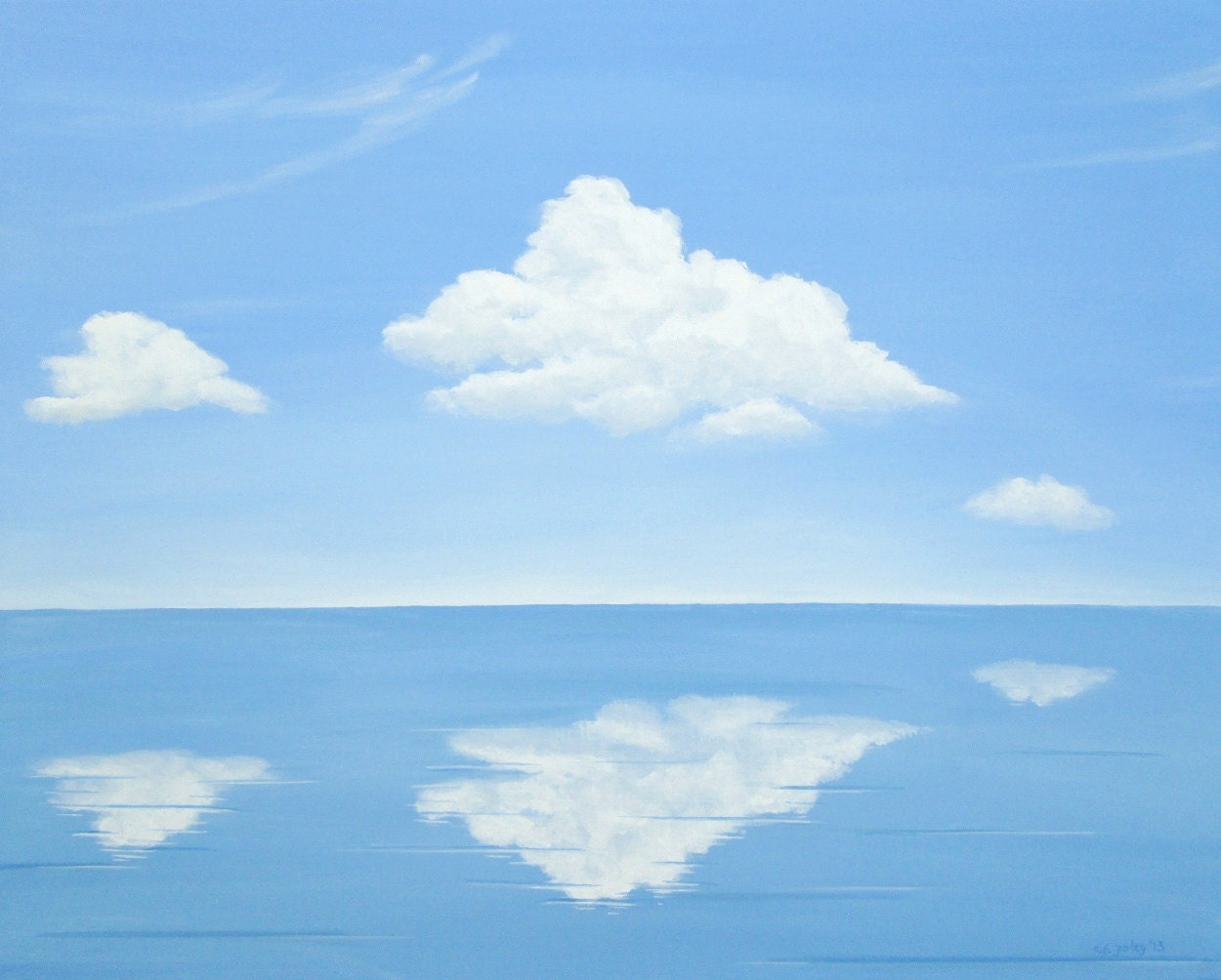 calm sea painting, quiet ocean painting, relaxing ocean art, blue ocean painting, calm seas, calm water painting, water reflection art, calm seascape fine art, water art, fluffy clouds painting, clouds water reflection, blue ocean painting