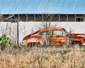 Old Car, Landscape photography, Texas, Hill Country, Cactus, Western, automobile, fine art print