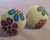 Fabric Covered Colorful Flowers Button Earrings