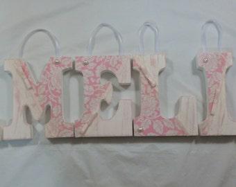 SHABBY Girls nursery name letter
