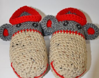 Mens Adult Homespun Sock Monkey Slippers