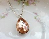 Champagne Necklace Pale orange peach Pendant Bridesmaids Wedding Necklace