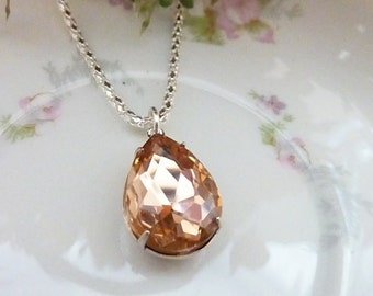 Champagne Necklace Pale orange peach Pendant Bridesmaids Wedding Necklace