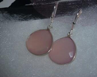 Pink Chalcedony Drop Earrings in Sterling Silver