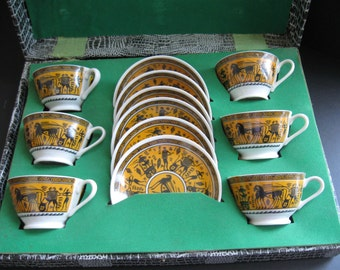 Vintage Greek or Egyptian Motif Cups and Saucers.- JUST REDUCED