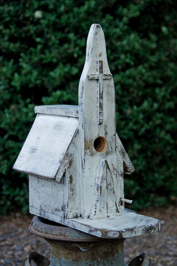 Vintage birdhouse, Church Birdhouse, Rustic Church, Antique style Church, primitive birdhouse, functional birdhouse, birdhouse