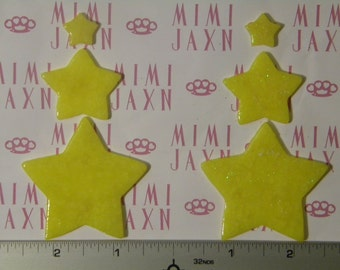 6 CUSTOMIZABLE Polymer Clay Star Flatbacks - Color Options/Glitter Accents
