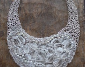 Snow Queen Natural Rock Crystal and Silver plated Wire Bib Statement OOAK Necklace. Made to order.