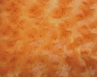 Minky Cuddle Rosebud Orange Fabric by the yard- 1  Yard