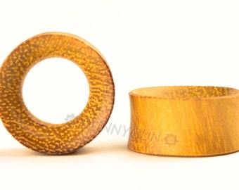 "3/4"" Pair Yellowheart Wood Beveled Hollow Plugs Organic Hand Carved  Wood Body Piercing Jewelry Gauge Earrings"