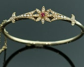 Antique Victorian Ruby and Seed Pearl Bangle