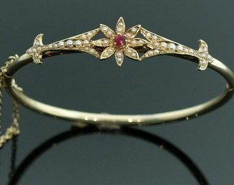 Antique Bracelet - Antique Victorian Ruby and Seed Pearl Bangle