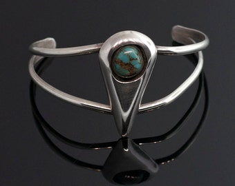 Vintage and Unique Sterling Silver and Turquoise Cuff Bracelet.