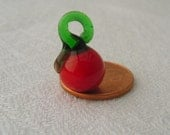 Glass Bead or Charm, Miniature Tomato, Vegetable Bead. Vegetable Charm. Fruit Bead.  RED (1) ONE bead