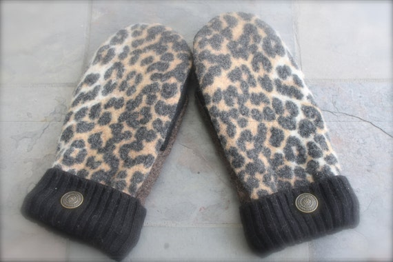 Purr-fectly Warm  Felted Wool Mittens Women Small