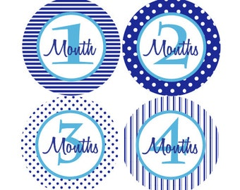 Boy Monthly Photo Stickers - Baby Boy Monthly Milestone Stickers - Shades of Blue Month Stickers - Baby Shower Gift - Photo Prop - Porter-T