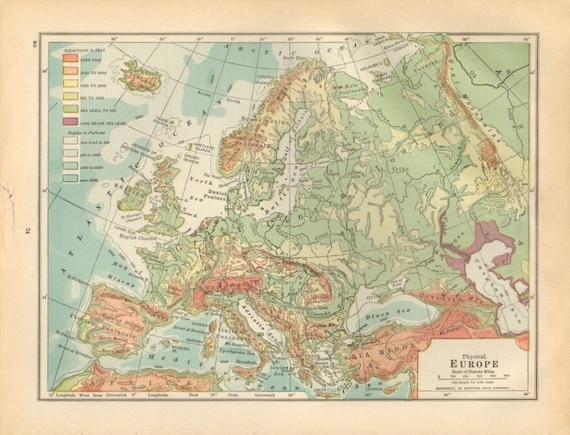 Vintage European Map Vintage Map of Europe